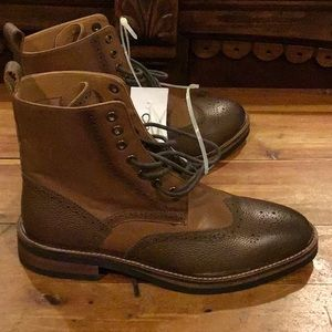 Express Shoes - NWT MENS EXPRESS BROWN WINGTIP LACE UP BOOTS